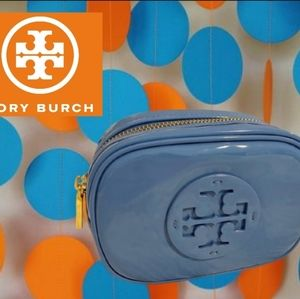 Tory Burch blue stacked makeup bag